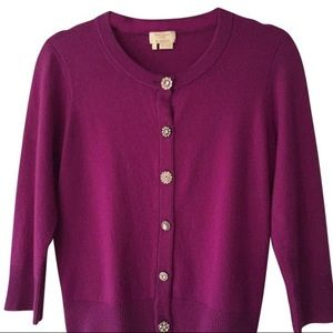 kate spade Sweaters - Kate Spade jewel button crop cardigan Plum
